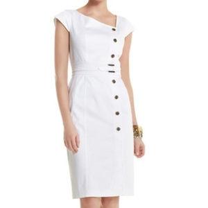 WHBM white safari asymmetric shirt dress - size 2